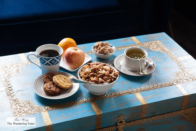 Snacks, coffee and tea on the vintage trunks