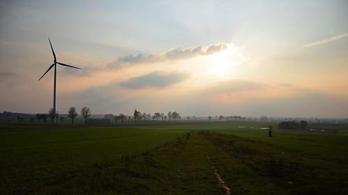sunset sky fields path road nature view landscape mist fog haze clouds łódzkie lodzkie polska poland spring trees