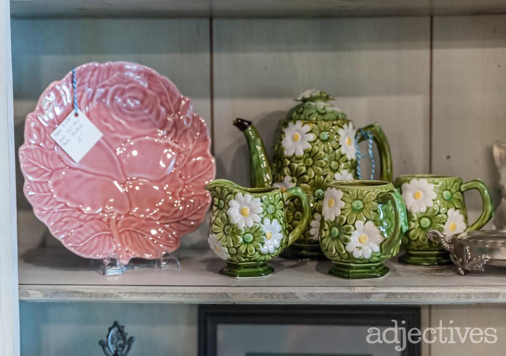 Vintage porcelain tea pot and tea cups by BlueBird Mercantile at Adjectives Winter Garden
