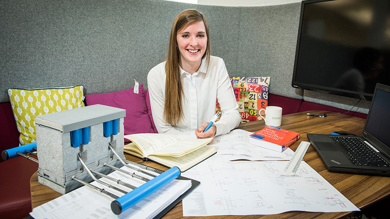 A Civil Engineering student working on her placements.