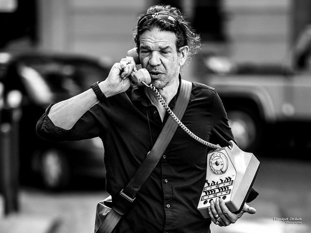 Street - Old-style phoning !