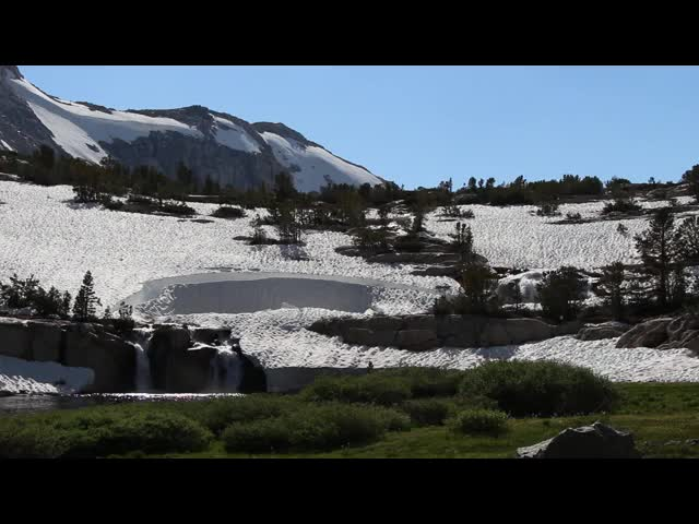 280 Video of snow and melting snow waterfalls in the North Fork of Bishop Creek just below Paiute Lake
