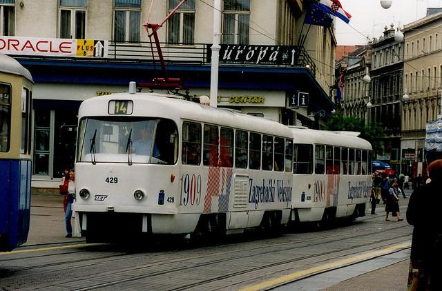 Tatra T4YU 429+829 Zagreb  Croatie Hrvatska 1999a