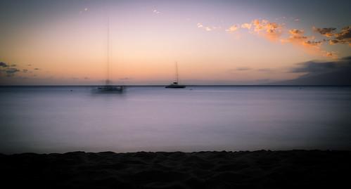 hawaii lahaina beach ships colors sunset ghosts sea ocean travelling clouds sand view longexposure nikon