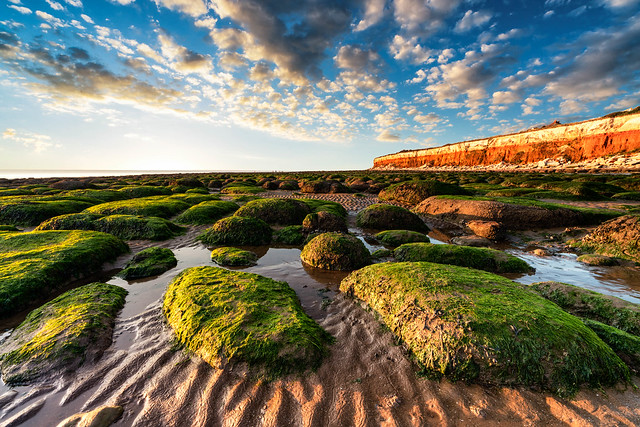 Hunstanton twilight with rocks in foreground, Norfolk, UK (3)