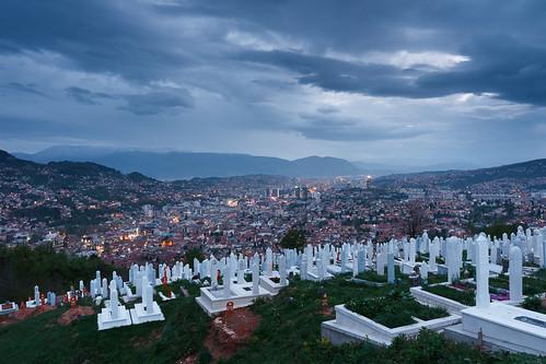 sarajevo bosniaandherzegovina bosnia mountains graveyard evening overcast panorama skyline