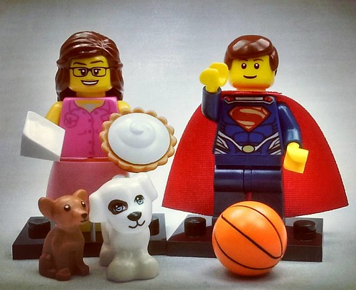 Super Hero Basketballer and Origami Pie Girl with Dogs. Brick Yourself figures of the week! See more quirky characters at brickyourself.com.au!  #brickyourself #brickmandan #makeyourselfinlego #lego | by BrickManDan