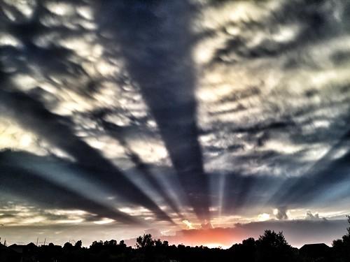 rays sunset lightrays clouds