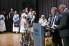 Der Billeder Bürgermeister Cristian David bei seiner Ansprache mit Adam Csonti als Dolmetscher