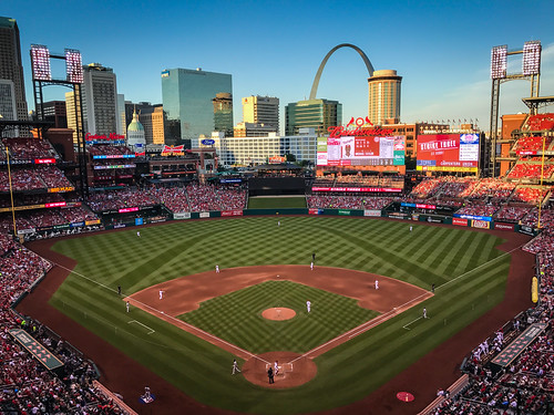 stlouis missouri unitedstates us city skyline view from busch stadium st louis cardinals mo vs washington nationals mlb baseball park ballpark arena usa america american stl gateway arch