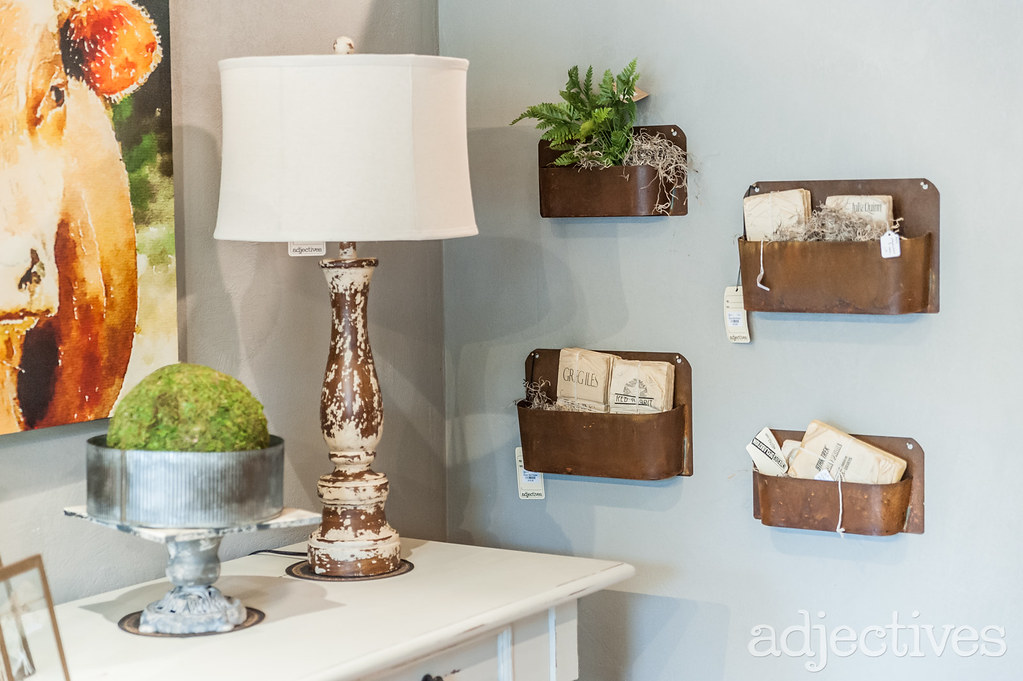 Metal wall decor and rustic lamps in Winter Park