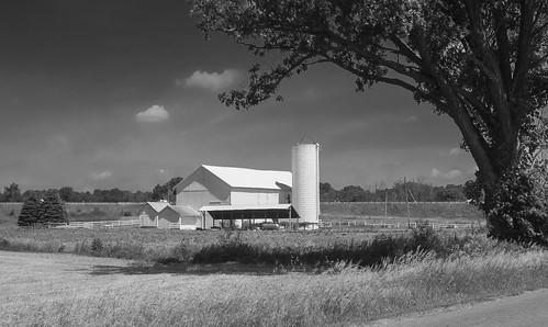 farm barn rural country landscape ohio waynecountyohio bw blackandwhite niksep cc7 olympus tg4 raw orf geotagged