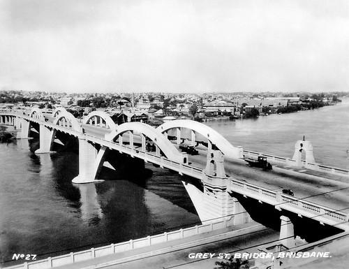 "14 July 1943 - No. 27. GREY ST. BRIDGE, BRISBANE."", Queensland, Australia (restored real photo card, circa 1930s)"