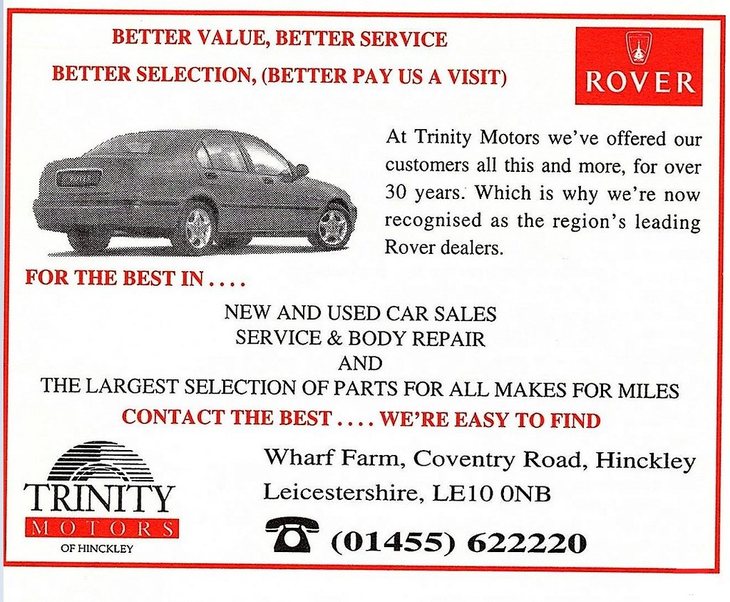 1997 Advert Trinity Motors Rover Wharf Farm Coventry Roa