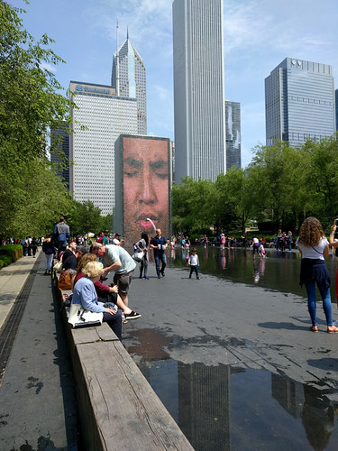 Crown Fountain faces