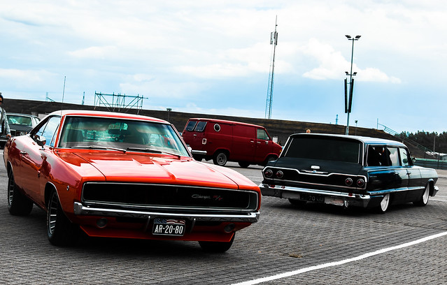 1968 Dodge Charger and 1963 Chevrolet Bel-Air station wagon
