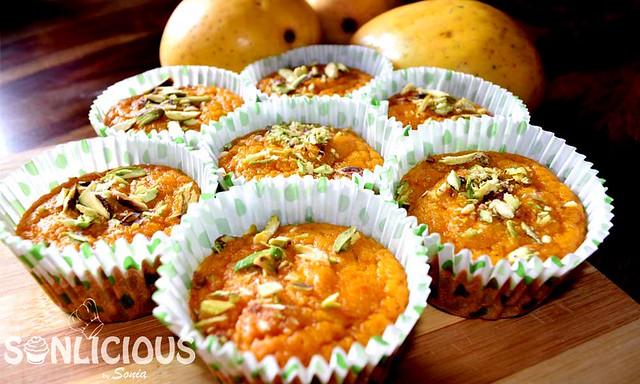 Mango semolina muffins