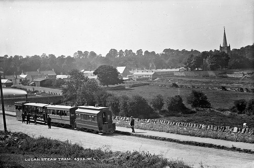 robertfrench williamlawrence lawrencecollection lawrencephotographicstudio thelawrencephotographcollection glassnegative nationallibraryofireland lucansteamtram lucan codublin leinster dublin tracks tram steamtram clerestorycoachirishstock ireland