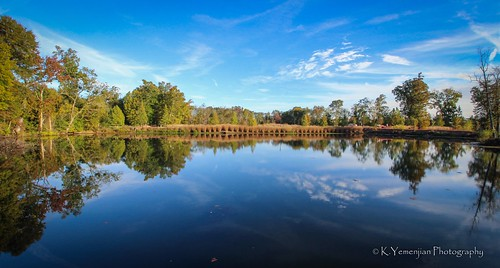 beautyofnature bluesky nature water lake pond reflection mirror wideanglelens wideangle landscape sunnyday sunny green trees clouds canon canont5i northaugustasc northaugusta southcarolina southeast south southern t5i 700d canon700d placescity