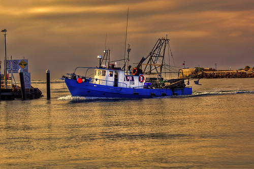 bay aleven lakes entrance fishing trawler blue sunrise warm prawn bugs crab balmain net inshore barway wall sea bass straight commercial lefcol coop bullock island fisheries returning homeward port jetty breakwater navagation outrigger early morning calm ef70200mmf4l canoneos5dmll hdr