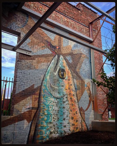 2nd fish ~ 2nd part of 6 elements of this 3000 sq ft mural at Fiddlin Fish Brewing. WS NC. | by iamhieronymus@gmail.com
