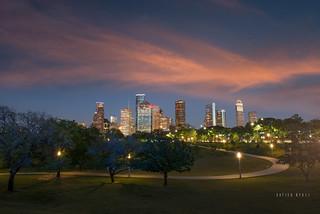 Houston Sunset from Eleanor Tinsley Park