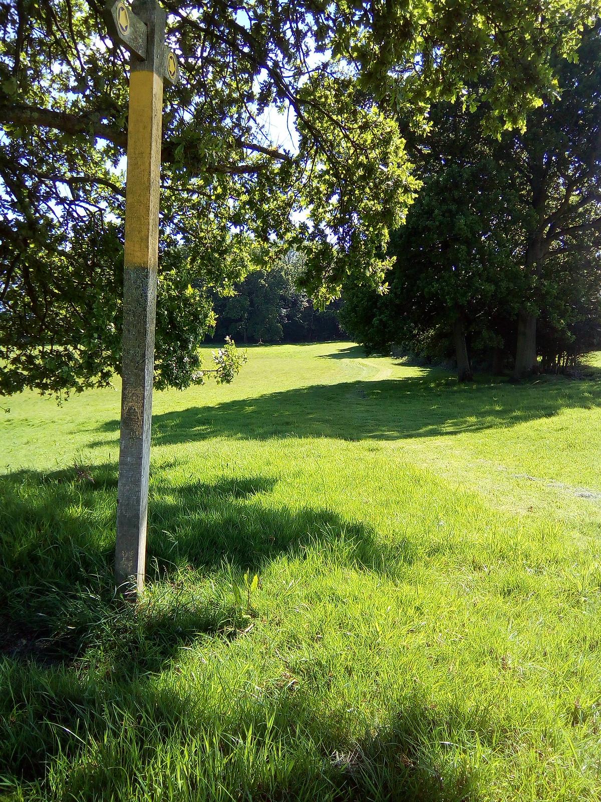 Meander gently between fields