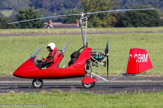 G-CEHM - 2006 build Rotorsport UK MT-03, arriving at Halfpenny Green for the 2016 Rotorsport Autogyro Fly-In