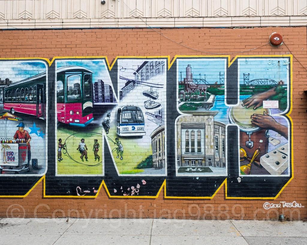 Detail of i love the bronx mural foxhurst new york city