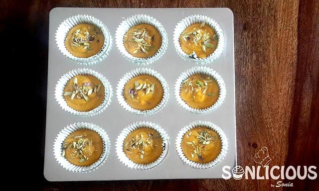 Mango semolina muffins before bake