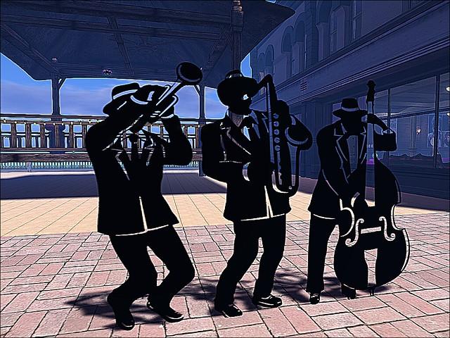 Mardi Gras Jazz Trio Silhouettes