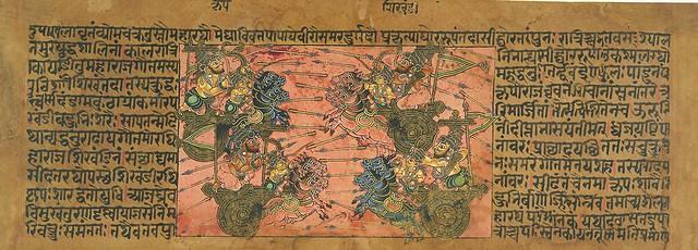 Battle_Scene_Between_Kripa_and_Shikhandi_from_a_Mahabharata