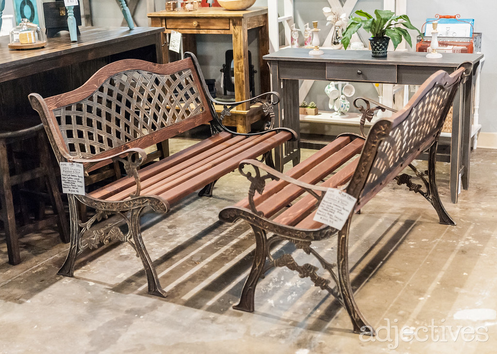 Vintage, metal benches in Altamonte by Pipe Dreams Furninture