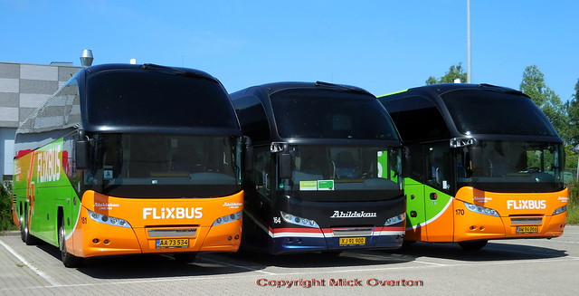 Neoplans 181 164 170 of Flixbus new partners Abildskou relivery their whole route 888 fleet