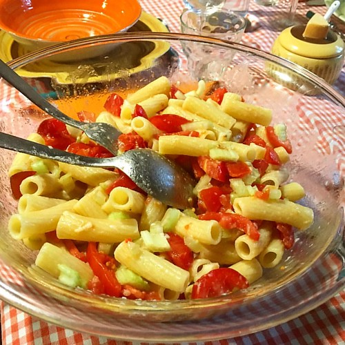 It's springtime what's better than a pasta salad today at lunch #italianfood #Tuscany #cookingclass #italy #cooking #italian #italiancooking #italiancuisine #pasta #pastatime #pastasalad | by Toscana Mia , Tuscany