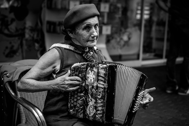 Sonia, eighty-three years old accordion player