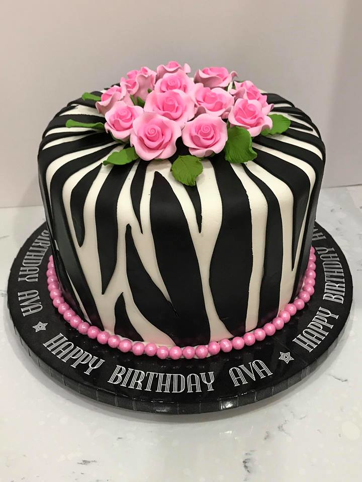 Excellent Zebra Print Birthday Cake Ava Cake Lady Wpb Flickr Funny Birthday Cards Online Overcheapnameinfo