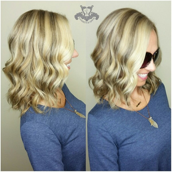 Icy Neutral Blonde With Beige Lowlights Shoulder Length