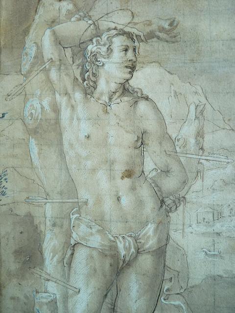 FLORENCE 16e - Le Christ en Croix, entre St Sébastien et St Jacques (drawing, dessin, disegno-Louvre  INV2797) - Detail 06