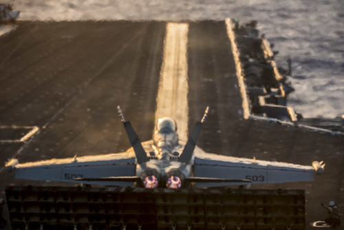 An EA-18G Growler prepares to launch from USS George H.W. Bush. | by Official U.S. Navy Imagery