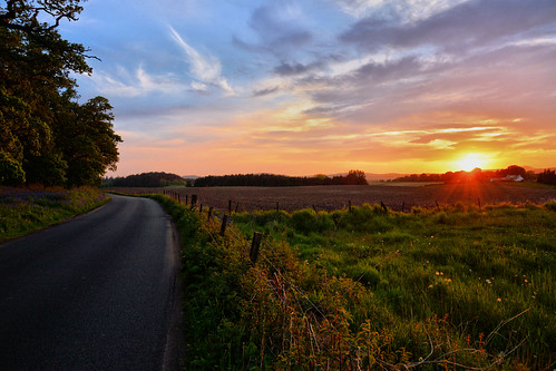 kinclaven sunset scotland road rural sky scenery outdoors