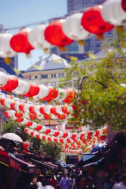 Lampions over urban chinatown