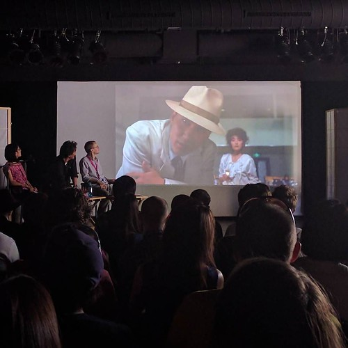Watching guest-of-honor Koji Yakusho watching himself in the opening scene of Tampopo (1985) #NipponConnection