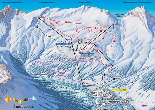 Bosco Gurin - mapa sjezdovek