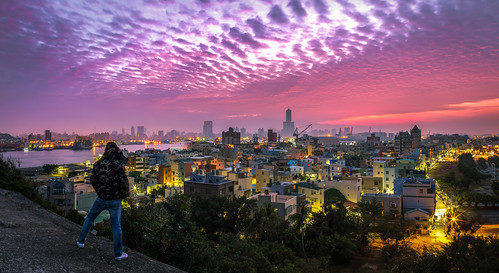 85大樓 taiwan 高雄 sunrise 火燒雲 高雄旗后砲台 旗後砲臺 寬景 panorama widescreen 旗津 旗後燈塔