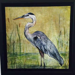 "Kathy Cameron's ""The Marsh"".  Beautiful little 8x8 painting! #southshoregallery #sookebc #artgallery #art #herons #yyj #yvr 