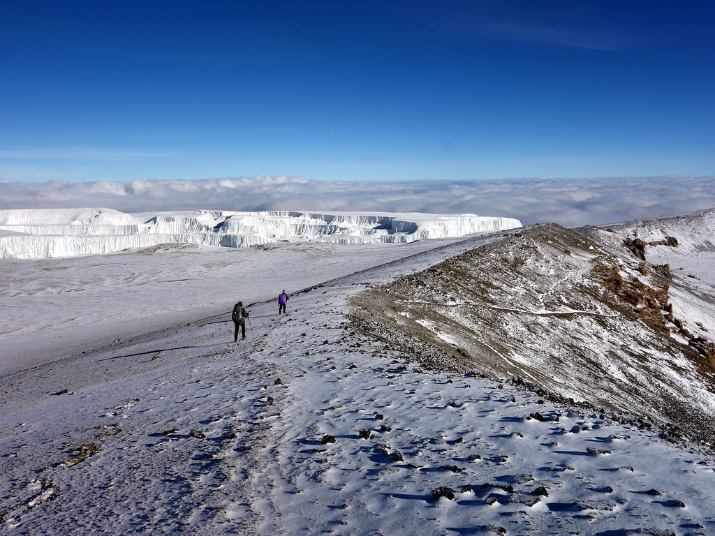 Walking the rim of the inner crater, with the Northern Icefield behind