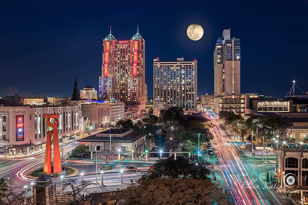 San Antonio Skyline View Of Downtown San Antonio From
