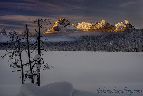 Morning warm sunlight on Braxton Peak in the Sawtooths | by Knowles Gallery
