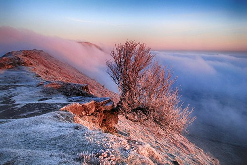 blackhill ridge dawn morning hill hillside tree frost cold frosty cloud mist fog landscape nature natural scenic scenery outside outdoor herefordshire blackmountains